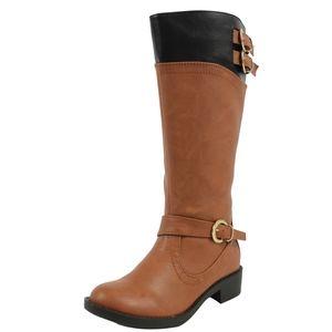 Girl's Two Tone Tan Black Low Heel Riding Boot